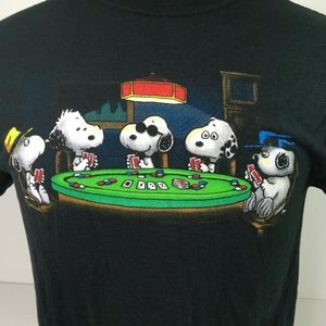 Peanuts Black Graphic Tshirt Size M Poker Cards